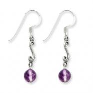 Sterling Silver Amethyst Antiqued Dangle Earrings
