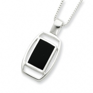 Sterling Silver Onyx Pendant with Chain Necklace chain