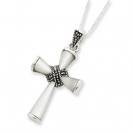 Sterling Silver w/Box Chain Marcasite & Mother of Pearl Cross Pendant chain
