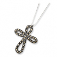 Sterling Silver 18 Box Chain w/ Marcasite Cross Slide chain