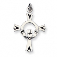 Sterling Silver Antiqued Claddaugh Cross Charm