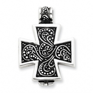 Sterling Silver Antiqued Cross Locket Pendant
