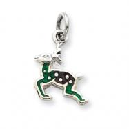 Sterling Silver Enameled Reindeer Charm