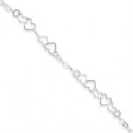 Sterling Silver 9inch Polished Fancy Heart Link Anklet