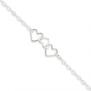 Sterling Silver 9inch Solid Polished Fancy Heart Link Anklet