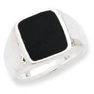 Sterling Silver Synthetic Onyx Ring