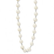 Sterling Silver 16inch Polished White Cultured Pearl Necklace chain