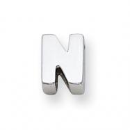 Sterling Silver Initial Slide  N
