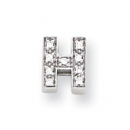 Sterling Silver CZ Initial H Slide