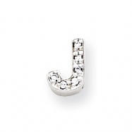 Sterling Silver CZ Initial J Slide