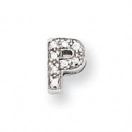 Sterling Silver CZ Initial P Slide