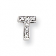 Sterling Silver CZ Initial T Slide