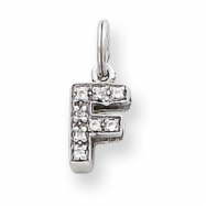 Sterling Silver CZ Initial F Charm