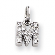 Sterling Silver CZ Initial M Charm