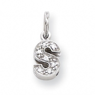 Sterling Silver CZ Initial S Charm