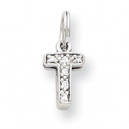 Sterling Silver CZ Initial T Charm