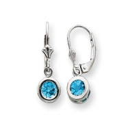 Sterling Silver 6mm Round Blue Topaz Leverback Earrings
