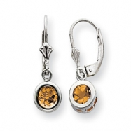 Sterling Silver 6mm Round Citrine Leverback Earrings