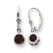 Sterling Silver 6mm Round Garnet Leverback Earrings