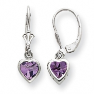 Sterling Silver 5mm Heart Amethyst Leverback Earrings