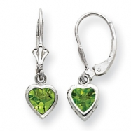 Sterling Silver 5mm Heart Peridot Leverback Earrings