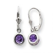 Sterling Silver 5mm Round .80ct Amethyst Leverback Earrings