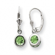 Sterling Silver 5mm Round Peridot Leverback Earrings