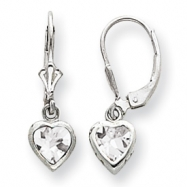 Sterling Silver 6mm Heart CZ Leverback Earrings