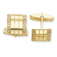 Sterling Silver & Vermeil Wavy CZ Cuff Links
