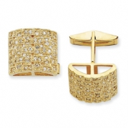 Sterling Silver & Vermeil Woven CZ Cuff Links
