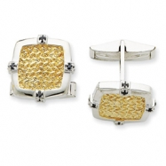 Sterling Silver & Vermeil Blue CZ Cuff Links