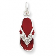Sterling Silver CZ and Red Enameled Flip Flop Charm