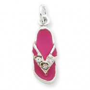 Sterling Silver CZ and Pink Enameled Flip Flop Charm