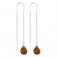 Sterling Silver Smokey Crystal Teardrop Threader Earrings