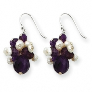 Sterling Silver Amethyst & White Cultured Pearl Earrings