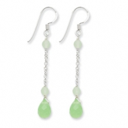 Sterling Silver Green Agate/Jade Earrings