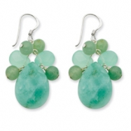Sterling Silver Green Agate/Amazonite/Jade Earrings