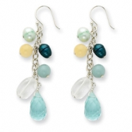 Sterling Silver Blue Crystal/Cultured Pearl/Green Agate/Jade Earrings