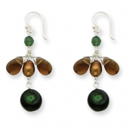 Sterling Silver Cultured Pearls/Smokey Quartz/Aventurine Earrings