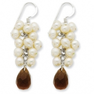 Sterling Silver Smokey Quartz and Cultured White Pearl Earrings