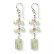 Sterling Silver Prehnite/Green Quartz/White Cultured Pearl Earrings