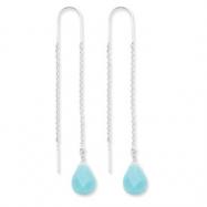 Sterling Silver Blue Agate Threader Earrings