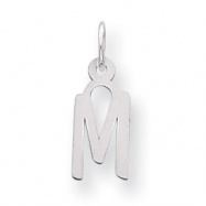Sterling Silver Small Slanted Block Initial M Charm