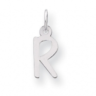 Sterling Silver Small Slanted Block Initial R Charm
