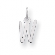 Sterling Silver Small Slanted Block Initial W Charm