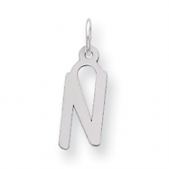 Sterling Silver Medium Slanted Block Initial N Charm