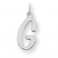 Sterling Silver Large Slanted Block Initial G Charm