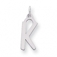 Sterling Silver Large Slanted Block Initial K Charm