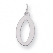 Sterling Silver Large Slanted Block Initial O Charm
