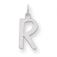 Sterling Silver Large Slanted Block Initial R Charm
